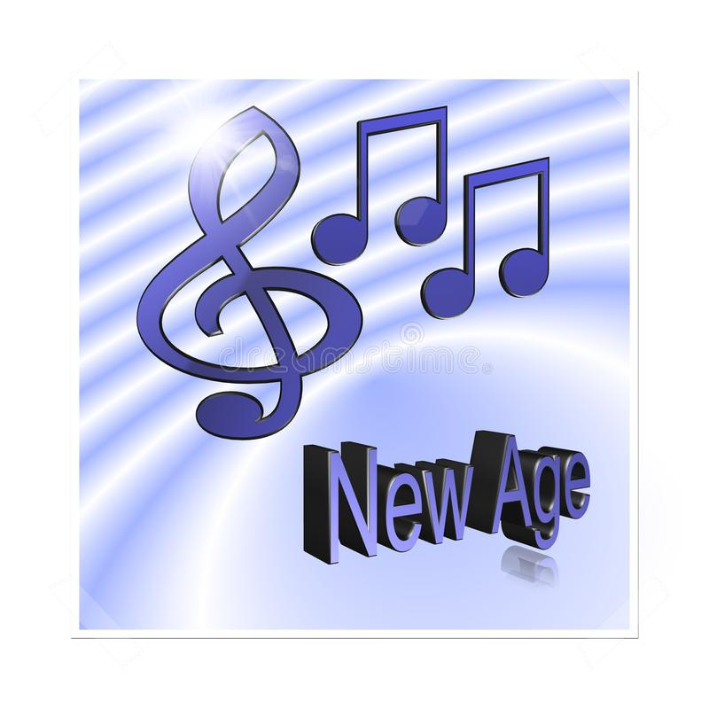 New Age Music - 3D illustration: symbol image for music, entertainment and culture. New Age Music - 3D illustration, 3D Rendering: symbol image for music stock illustration