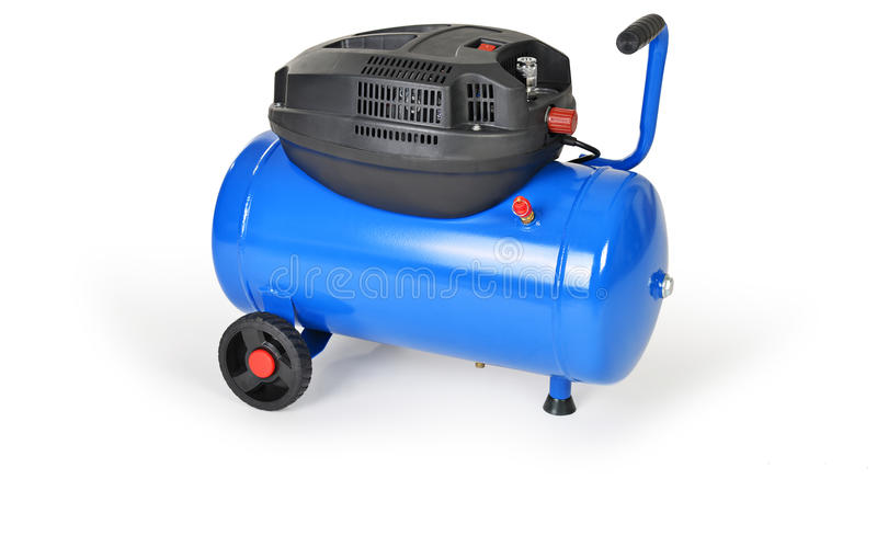 New air compressor. On a white background stock photos