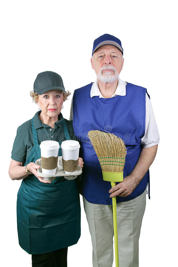 New American Gothic. A senior couple unable to retire is working in the fast food and retail industries. Isolated on white royalty free stock image