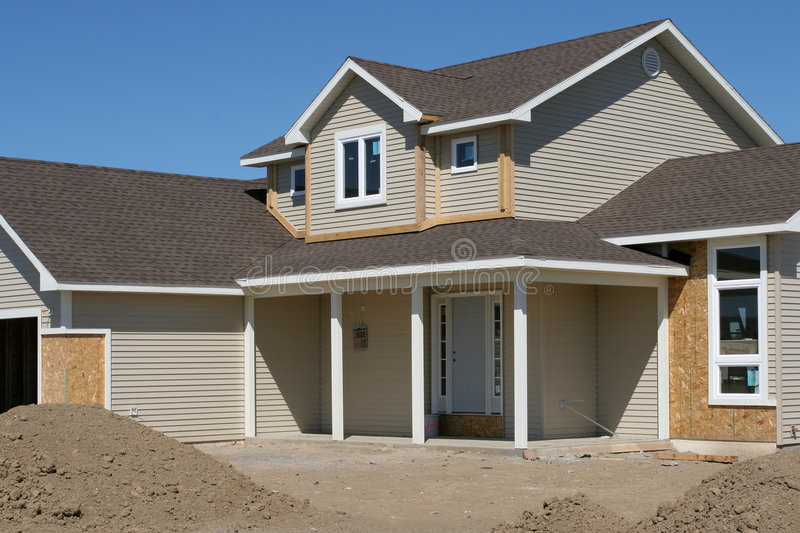 New american home. Construction almost finished stock photos