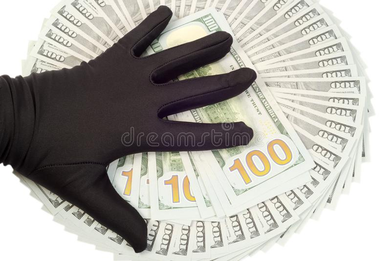 New Ameican dollars. New American 2013 hundred Dollars ,hand with black glove on it stock photos