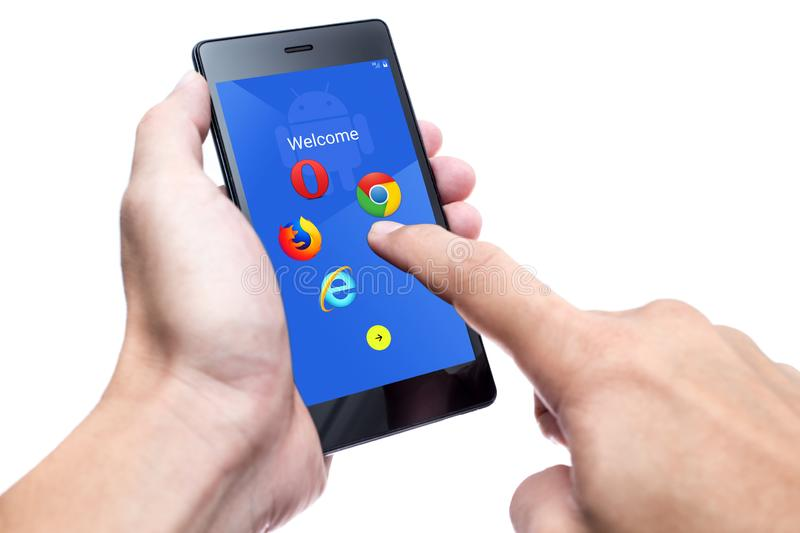 New Android setup in EU Google allow user select default system internet web browser. By European Commission  antitrust penalty case. 3 August 2019.Bangkok royalty free stock photos