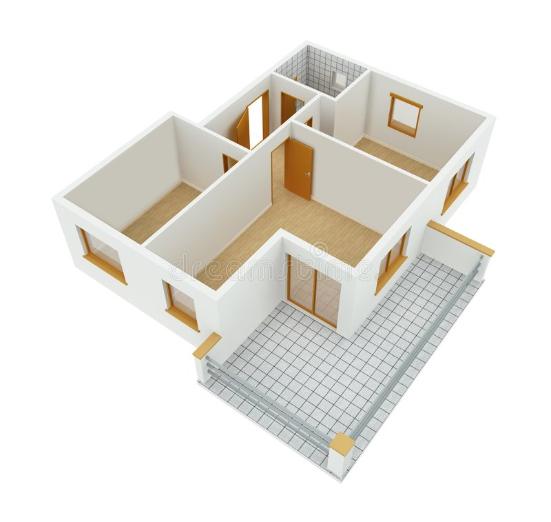 New Apartment. 3D new apartment floor plan over white background