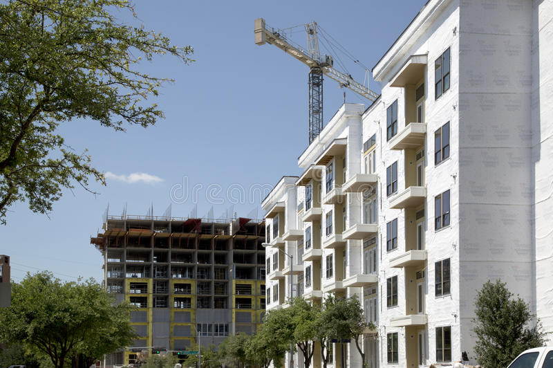 New apartment buildings under construction royalty free stock photos