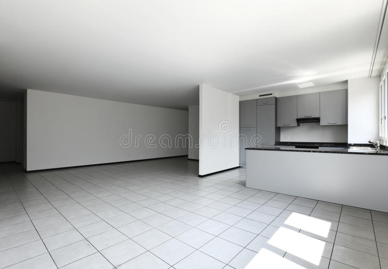 New apartment, empty kitchen stock image