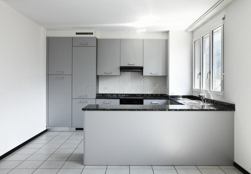 New apartment, empty kitchen royalty free stock photo
