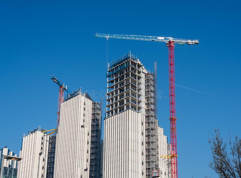 New apartments and flats under construction at Greenwich Millenium royalty free stock photo