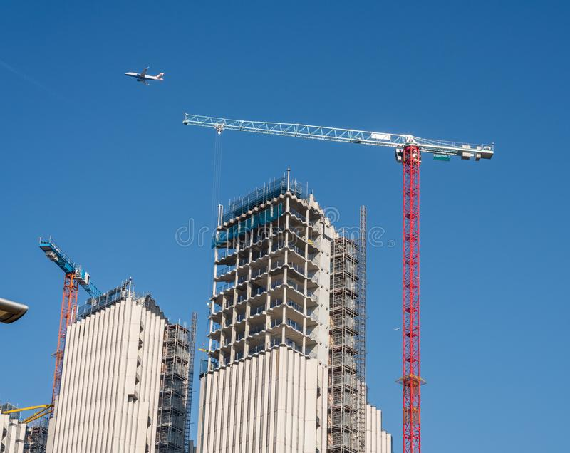 New apartments and flats under construction at Greenwich Millenium stock photo