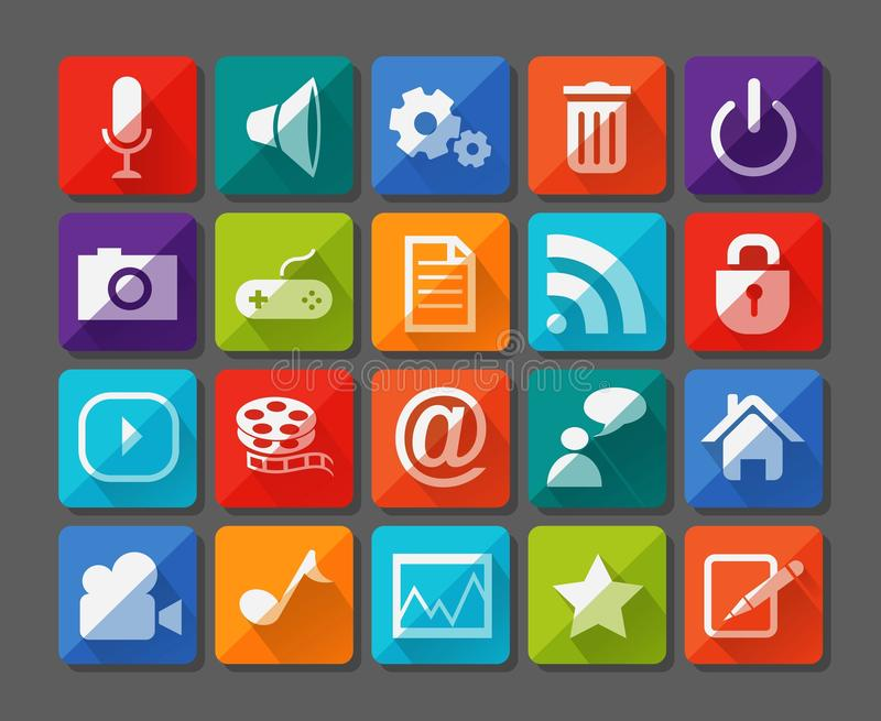 New app icons set in flat royalty free illustration