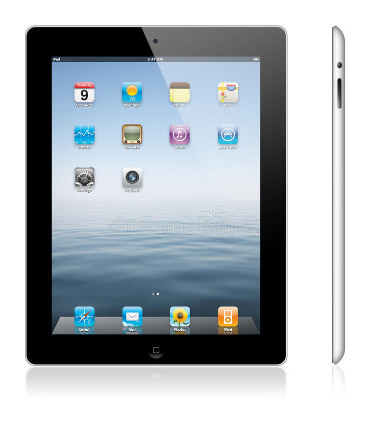 New Apple iPad 3. Illustration of the new Apple iPad 3. The Retina display on the new, third-generation iPad makes everything look crisper and more lifelike