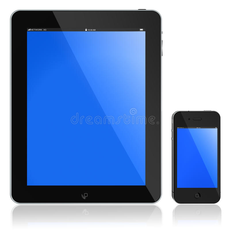 New Apple iPad and Iphone 4s. Front screen of New Apple iPad and iPhone 4s portable computer tablet glossy black and chromed, blue screen, isolated on white with stock illustration
