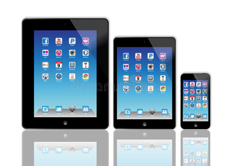 New Apple iPad and iPhone 5 royalty free illustration