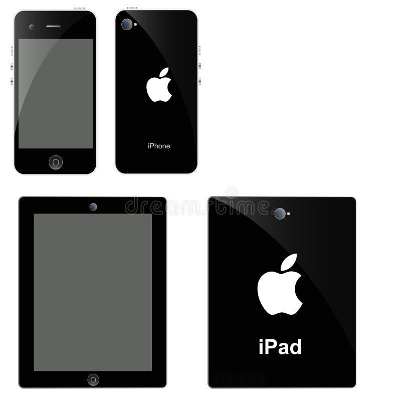 New Apple iPad and iPhone. Telephone gadget artist network video digital smartphone macintosh simplicity clipping stock illustration