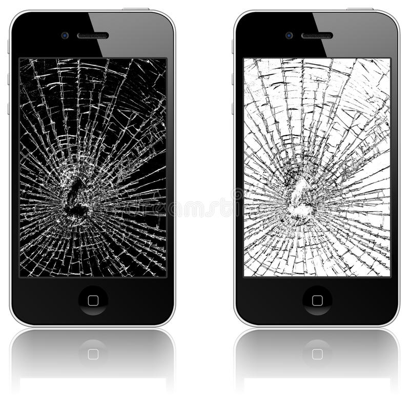 New Apple iPhone 4 broken. In spite of Apple's claims about the the glass in the iPhone 4, it may actually be more prone to breaking than that in previous models royalty free stock image
