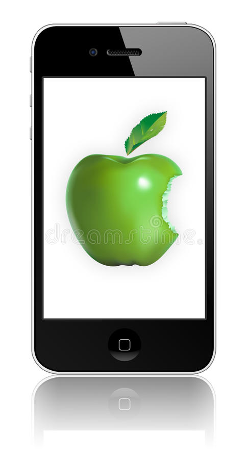 New Apple iPhone 4 Eco-friendly. IPhone 4 embodies Apple's continuing environmental progress. It is designed with the following features to reduce stock illustration