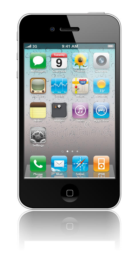 New Apple iPhone 4 with icons inside. IPhone 4 illustration. New Apple iPhone 4 arrives June 24 vector illustration