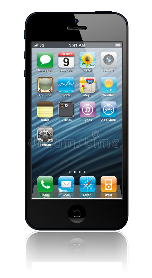 Download New Apple IPhone 5 With Icons Inside Editorial Image - Image: 26580265