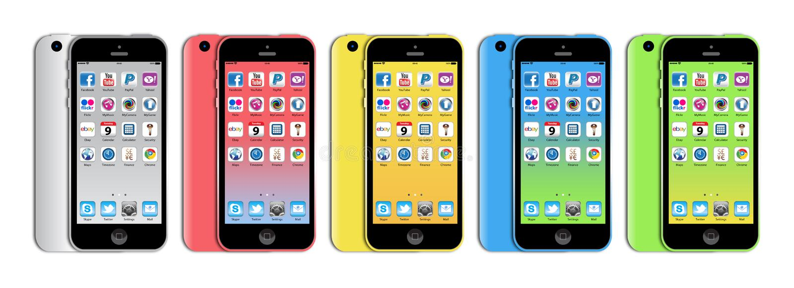 New Apple iphone 5c. The new Apple iPhone 5c launched in September 2013 has a A6 chip, 8MP iSight camera, a 4-inch retina display, plus ultra‑fast