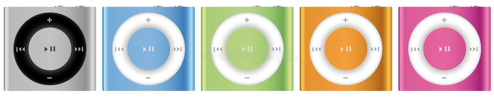 New Apple iPod Shuffle multicolor. The 1 September Apple has launched a new version of their tiniest music player, the iPod shuffle stock illustration