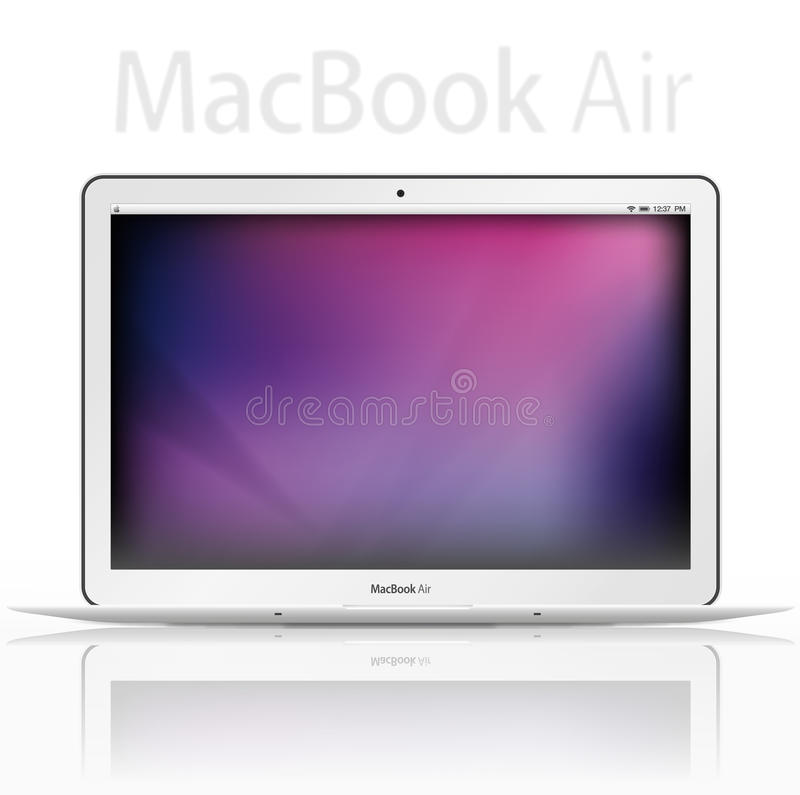 New Apple mac book air - vector. New Apple mac book air. New release from apple, fully capable Mac underneath all the thinness. Fully editable vector file vector illustration