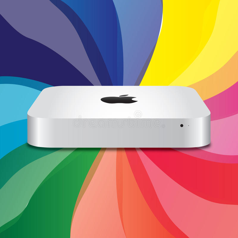 New Apple Mac Mini. Illustration of the New Apple Mac Mini on a rainbow background. The updated unibody Mini is notable as Apple's first computer to include an
