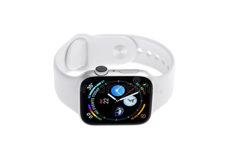 New Apple Watch 4, 44 inches on a white background. royalty free stock photo