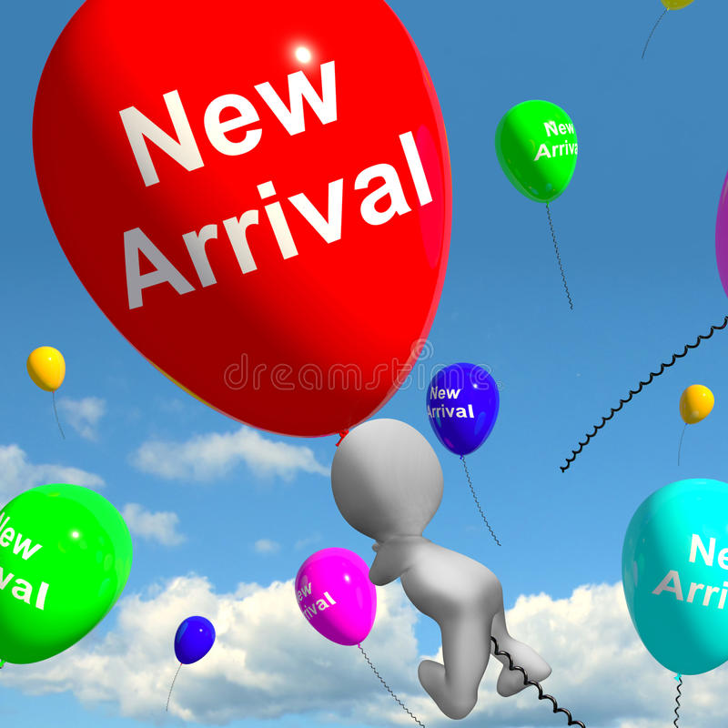 New Arrival Balloons Showing Latest Products Collection. New Arrival Balloons Shows Latest Products Collection stock illustration