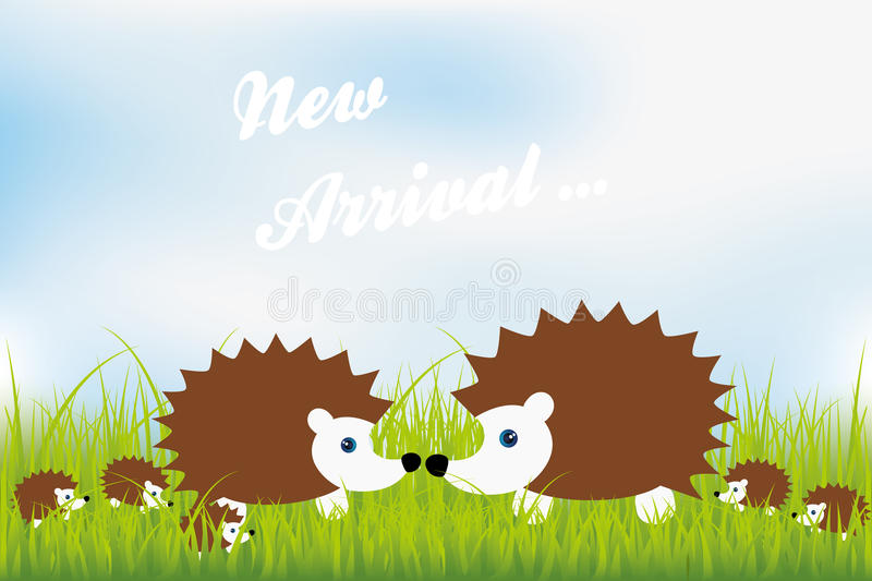 New arrival. Cute hedgehog family in green grass illustration royalty free illustration