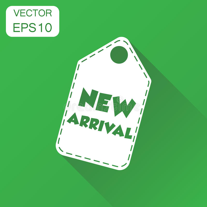 New arrival hang tag icon. Business concept new arrival shopping. Pictogram. Vector illustration on green background with long shadow vector illustration