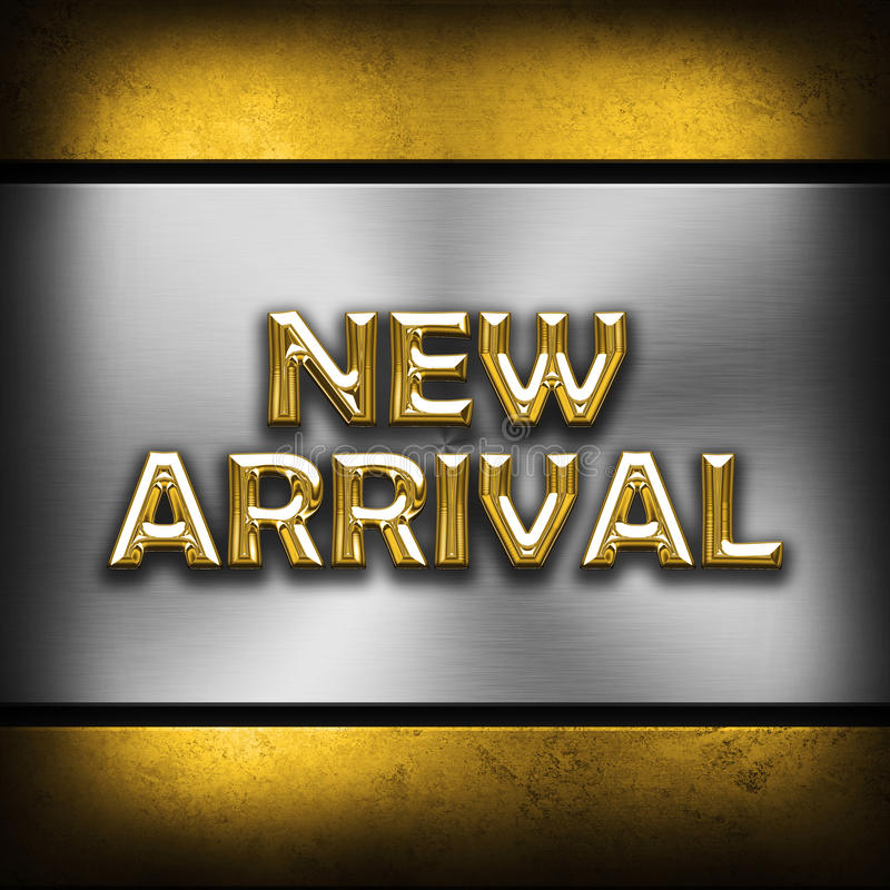New Arrival. Metal effect new arrival background stock illustration