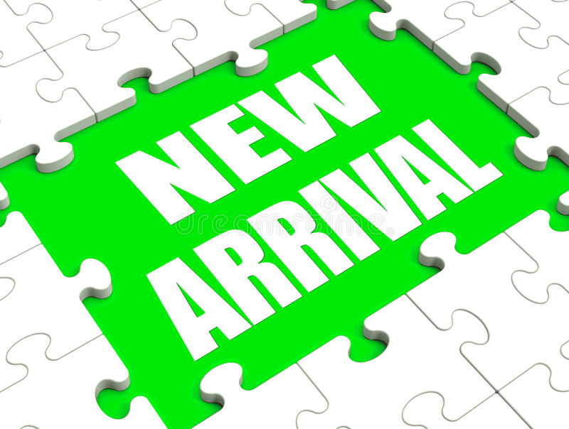 New Arrival Puzzle Shows Latest Products Announcement Arriving. New Arrival Puzzle Showing Latest Products Announcement Arriving stock illustration