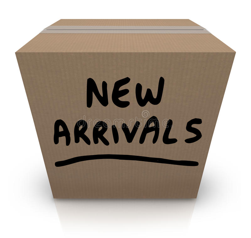 New Arrivals Cardboard Box Latest Products Merchandise. The words New Arrivals written on a cardboard box full of the latest and newest products and merchandise royalty free illustration