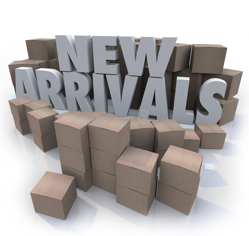 New Arrivals Cardboard Boxes Items Merchandise Products. Many cardboard boxes with the words New Arrivals to illustrate products, merchandise or other items for vector illustration