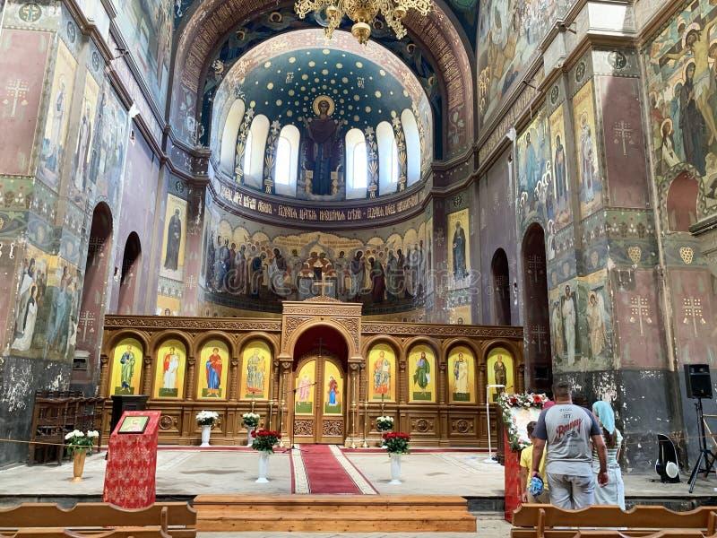 New Athos, Abkhazia, August, 09. 2019. Panteleimon Cathedral of the new Athos monastery, iconostasis and interior. Abkhazia stock image