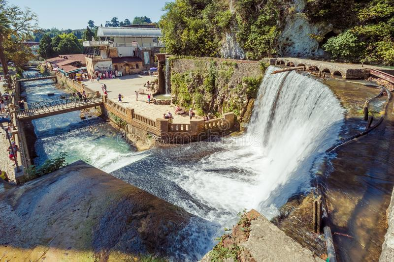 The New Athos waterfall on sunny summer day. Great view from top stock photo