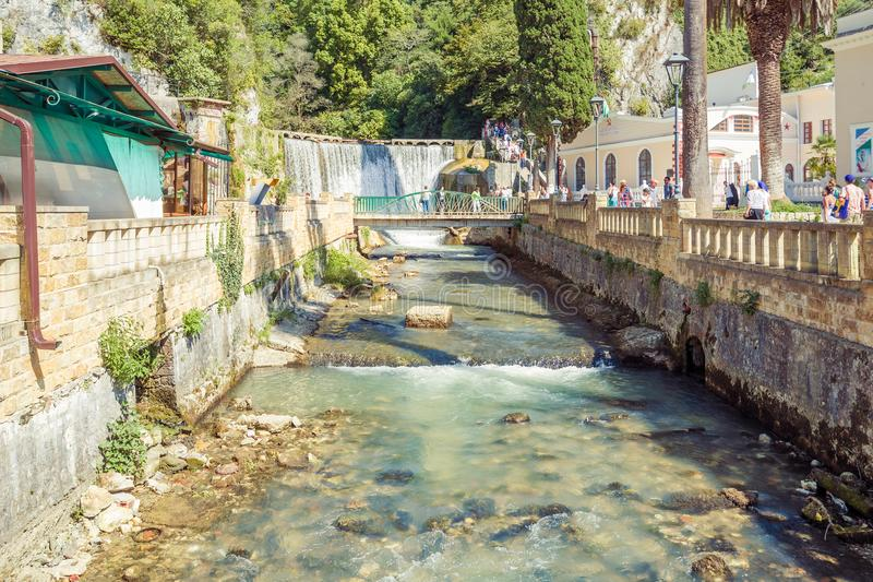 View from the bridge to the river and New Athos waterfall royalty free stock images