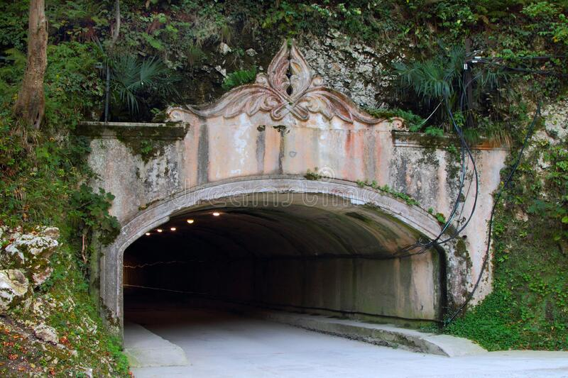 Road tunnel in the city of New Athos stock image