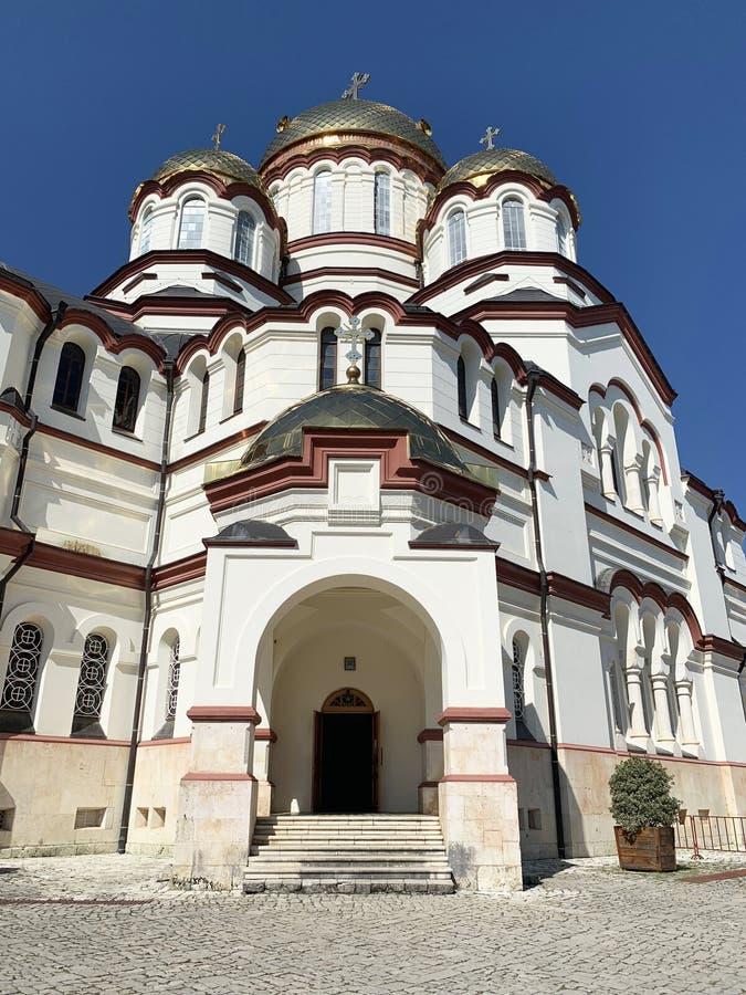 New Athos monastery, St. Panteleimon Cathedral. Abkhazia royalty free stock photo