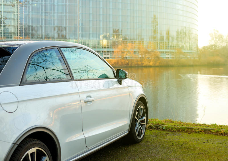 New Audi A1 supermini compact car parked in front of the European PArliament building in Strasbourg royalty free stock image
