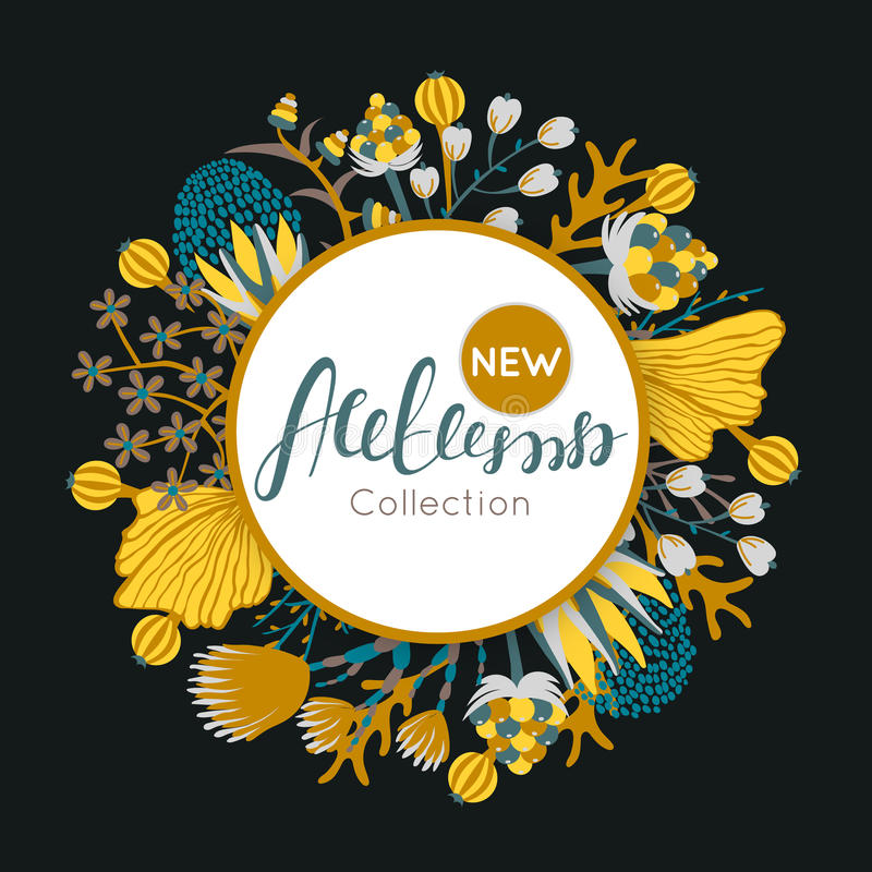 New autumn collection. Fall. Floral round frame. Hand drawn flowers around circle. It can be used for card, invitation, flyer, banner, advertising, signboard stock illustration