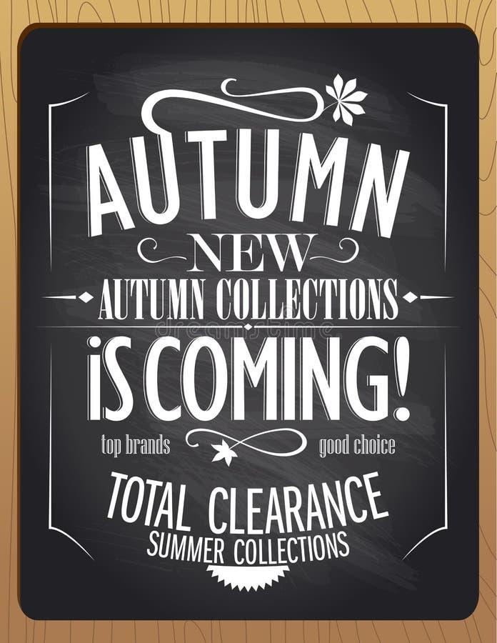 New autumn collections is coming, blackboard chalk illustration. stock illustration