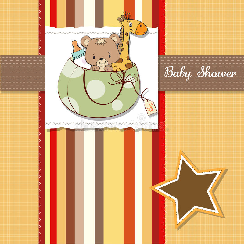 New Baby Announcement Card With Bag And Same Toys Royalty Free Stock Photography