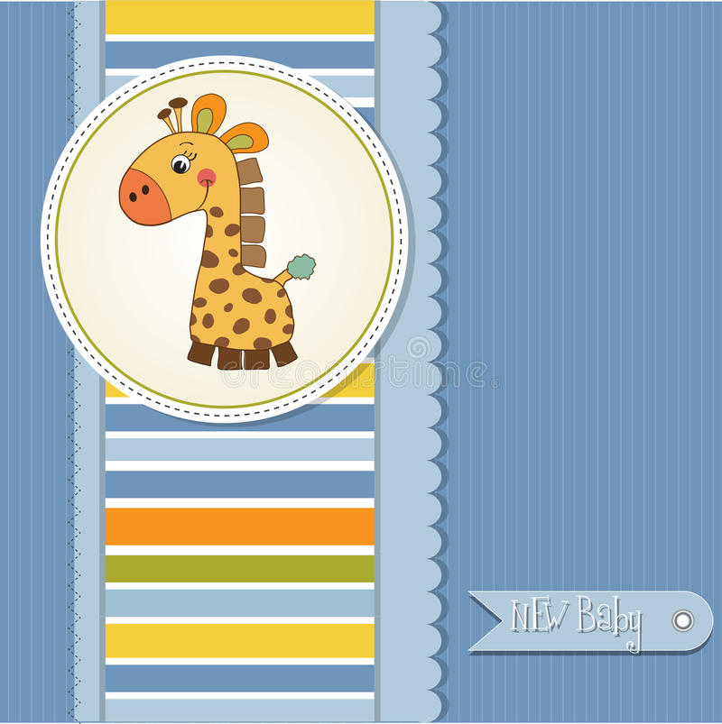 New baby announcement card with giraffe. New baby boy announcement card with giraffe vector illustration