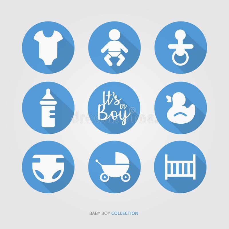 New baby boy logo set stock illustration