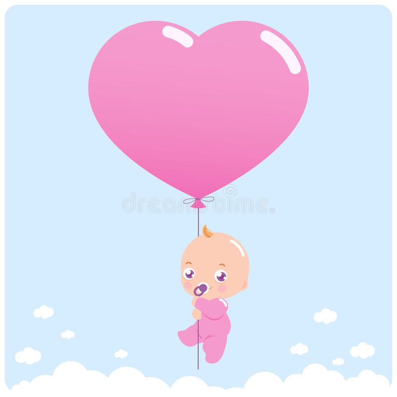 Download Baby girl with balloon stock vector. Image of clouds - 39229843