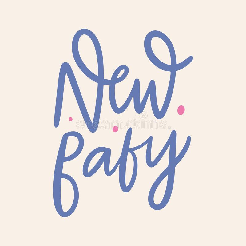 New Baby hand drawn vector lettering. Isolated on background. Cartoon style vector illustration