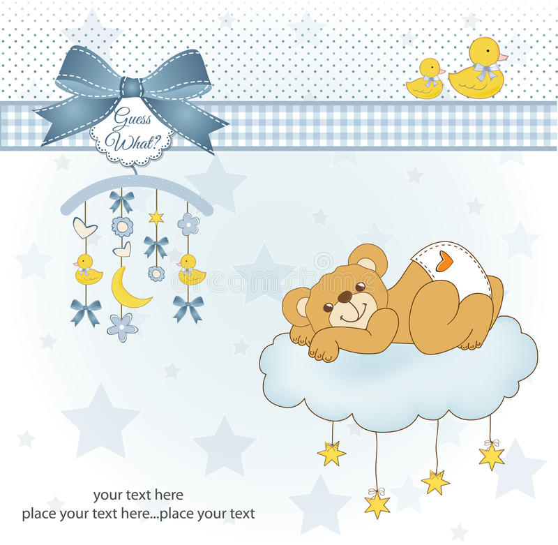 New baby shower card. With spoiled teddy bear vector illustration