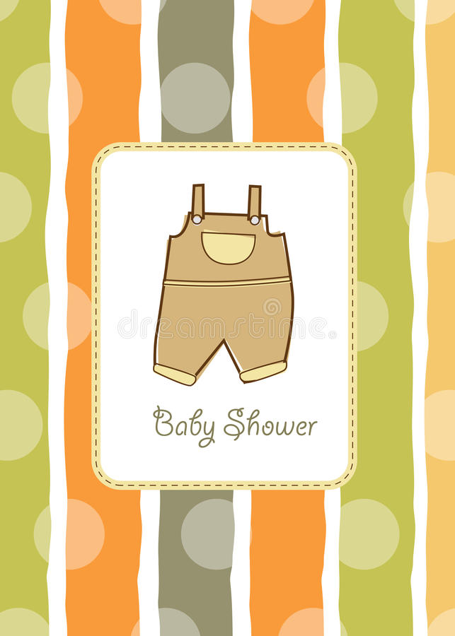 New baby shower invitation. Baby shower invitation with pants vector illustration
