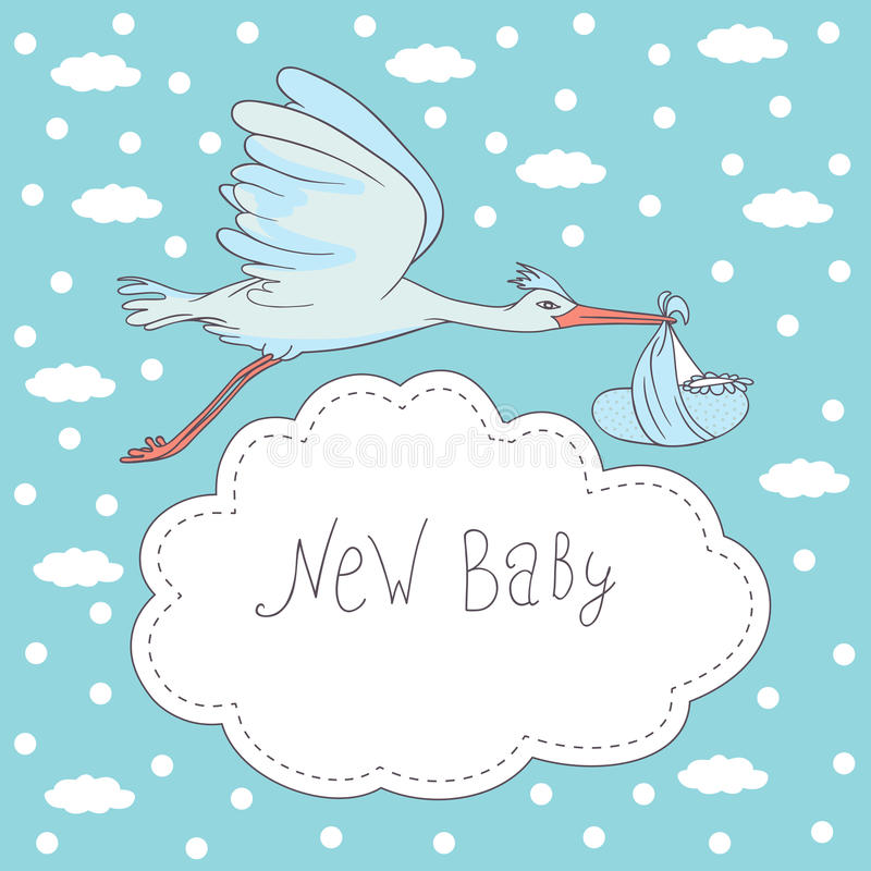 New baby, stork flying with baby stock illustration