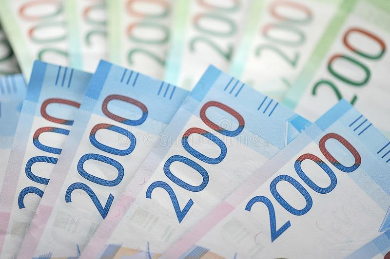 New Bank notes of 2000 and 200 Russian rubles royalty free stock images